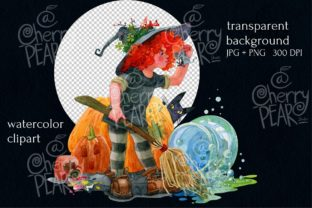 Print on Demand: Cute Witch with Broom Sublimation Clipat Graphic Illustrations By CherrypearStudio 3