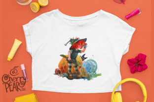 Print on Demand: Cute Witch with Broom Sublimation Clipat Graphic Illustrations By CherrypearStudio 6