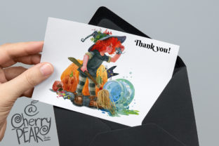 Print on Demand: Cute Witch with Broom Sublimation Clipat Graphic Illustrations By CherrypearStudio 7