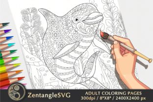 Dolphin Coloring Page for Adults & Kids Graphic Coloring Pages & Books Adults By ZentangleSVG