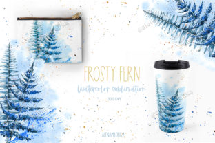 Print on Demand: Frost Fern Sublimation.Watercolor Winter Graphic Graphic Templates By Alenamilolika