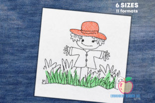Happy Scarecrow in the Field Games & Leisure Embroidery Design By embroiderydesigns101