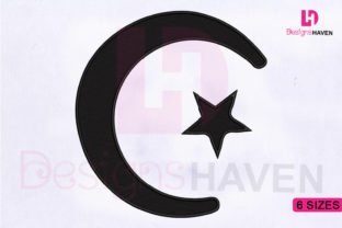 Print on Demand: Muslim Crescent and Star Religion & Faith Embroidery Design By DesignsHavenLLC