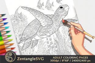 Turtle Coloring Page for Adults & Kids Graphic Coloring Pages & Books Adults By ZentangleSVG