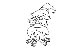 Gnome Making a Potion Halloween Craft Cut File By Creative Fabrica Crafts