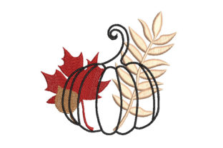 Fall Pumpkin with Leaf Autumn Embroidery Design By Canada Crafts Studio