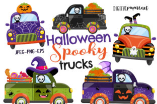 Print on Demand: Halloween Spooky Trucks Graphic Illustrations By DigitalPapers