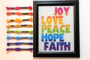 Joy Love Peace Hope Faith Graphic Cross Stitch Patterns By Across the Stitch
