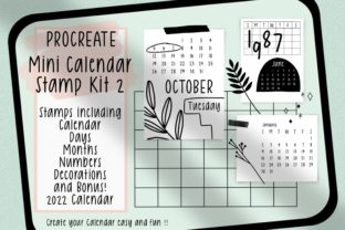 Procreate Stamps Mini Calendar Kit 2 Graphic Brushes By Jyllyco