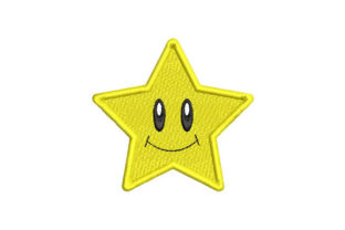 Yellow Star with Smiley Face Bett & Bad Stickdesign von Embroiderypacks