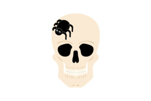 Skull with Spider Crawling over It Halloween Craft Cut File By Creative Fabrica Crafts