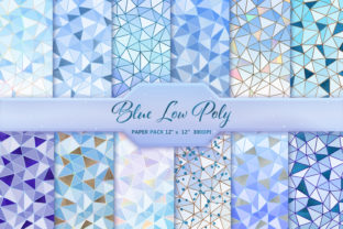 Blue Low Poly Digital Paper Pack Graphic Backgrounds By DifferPP