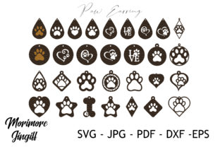 Print on Demand: Dog Paw Earring Template SVG Graphic 3D SVG By morimorejingiff