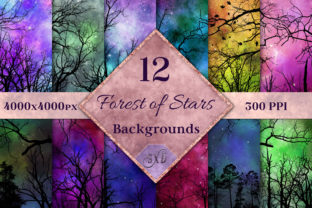 Print on Demand: Forest of Stars Backgrounds - 12 Images Graphic Backgrounds By SapphireXDesigns