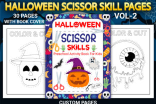 Print on Demand: Halloween Scissor Skill Pages Vol-2 Graphic Coloring Pages & Books Kids By Simran Store