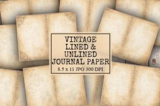 Print on Demand: Lined and Blank Old Junk Journal Paper Graphic Backgrounds By Digital Attic Studio