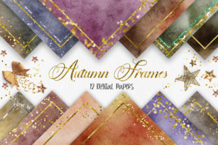 Print on Demand: Autumn Watercolor Glitter Frames Graphic Backgrounds By PinkPearly