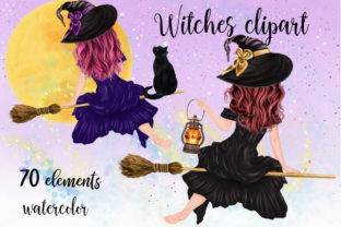 Print on Demand: Halloween Clipart Witches Clipart Graphic Illustrations By LeCoqDesign