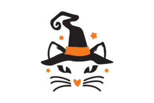 Cat with Witch's Hat Halloween Craft Cut File By Creative Fabrica Crafts