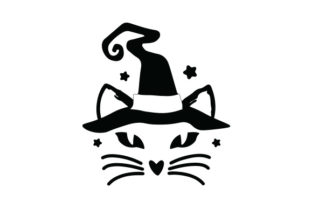 Cat with Witch's Hat Halloween Craft Cut File By Creative Fabrica Crafts 2