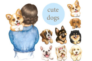 Dogs Watercolor Clipart. Woman with Dog Graphic Add-ons By EvArtPrint