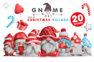 Print on Demand: Gnome Christmas PNG Clipart Bundle Graphic Illustrations By nesdigiart 1