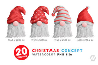 Print on Demand: Gnome Christmas PNG Clipart Bundle Graphic Illustrations By nesdigiart 2