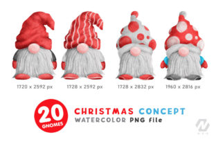 Print on Demand: Gnome Christmas PNG Clipart Bundle Graphic Illustrations By nesdigiart 3
