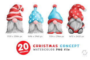 Print on Demand: Gnome Christmas PNG Clipart Bundle Graphic Illustrations By nesdigiart 4
