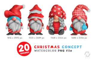 Print on Demand: Gnome Christmas PNG Clipart Bundle Graphic Illustrations By nesdigiart 5