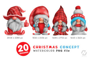 Print on Demand: Gnome Christmas PNG Clipart Bundle Graphic Illustrations By nesdigiart 6