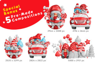 Print on Demand: Gnome Christmas PNG Clipart Bundle Graphic Illustrations By nesdigiart 8