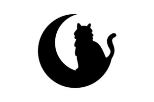 Silhouette of Cat Sitting on the Moon Halloween Craft Cut File By Creative Fabrica Crafts
