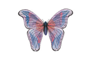 Print on Demand: Blue Butterfly with Large Wings Bugs & Insects Embroidery Design By EmbArt