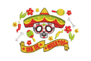 Day of the Dead Skull Holidays & Celebrations Embroidery Design By Embroiderypacks