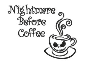 Nightmare Before Coffee Halloween Embroidery Design By Canada Crafts Studio