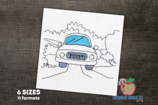 Road Trip Sketch Vacation Embroidery Design By embroiderydesigns101