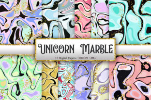 Print on Demand: Unicorn Marble Glitter Digital Papers Graphic Backgrounds By PinkPearly 1