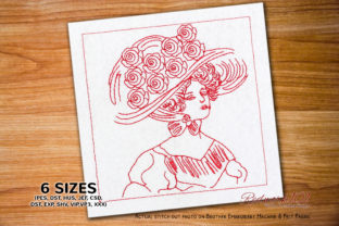 Victorian Lady with Floral Hat Clothing Embroidery Design By Redwork101