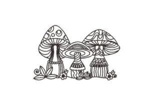 Whimsical Mushrooms Forest & Trees Embroidery Design By Embroidery Designs