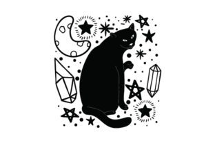Cat, Moon and Crystals Halloween Craft Cut File By Creative Fabrica Crafts