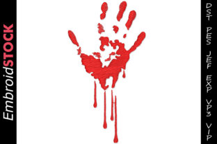 Bloody Hand Print Halloween Embroidery Design By embroidstock