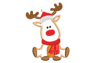 Christmas Reindeer with Scarf Christmas Embroidery Design By Embroiderypacks