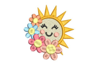 The Sun with Colorful Flowers Floral & Garden Embroidery Design By Embroiderypacks