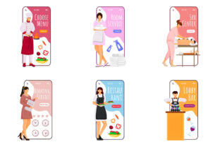 Print on Demand: Booking Service Cartoon Smartphone Graphic UX and UI Kits By natalia1891991