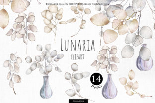 Print on Demand: Lunaria Clipart Graphic Illustrations By HappyWatercolorShop