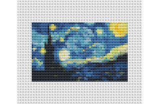 Painting Starry Night Vincent Van Gogh Graphic Cross Stitch Patterns By ArtDigitalEmbroidery 4