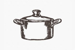Print on Demand: Pot One Line Kitchen & Cooking Embroidery Design By Urtica Design