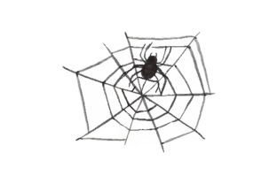 Watercolor Spider in a Web Halloween Craft Cut File By Creative Fabrica Crafts