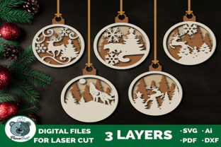 Christmas Ornaments - Glowforge Cut File Graphic 3D SVG By PinoCut